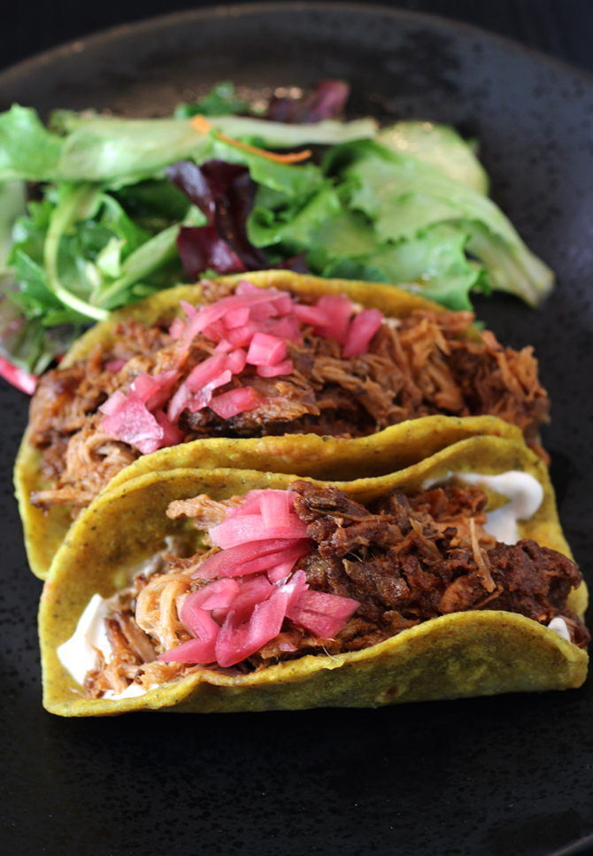Impressive pulled pork tacos made with Indian flatbread.
