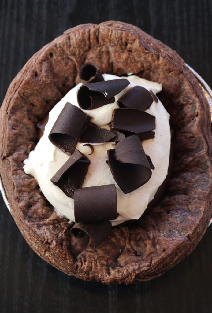 A small, 6-inch chocolate silk pie from Manresa Bread.