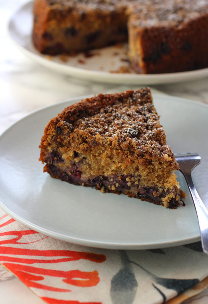 This isn't your ordinary blueberry cake -- not with whole wheat flour, plus a most unexpected ingredient.
