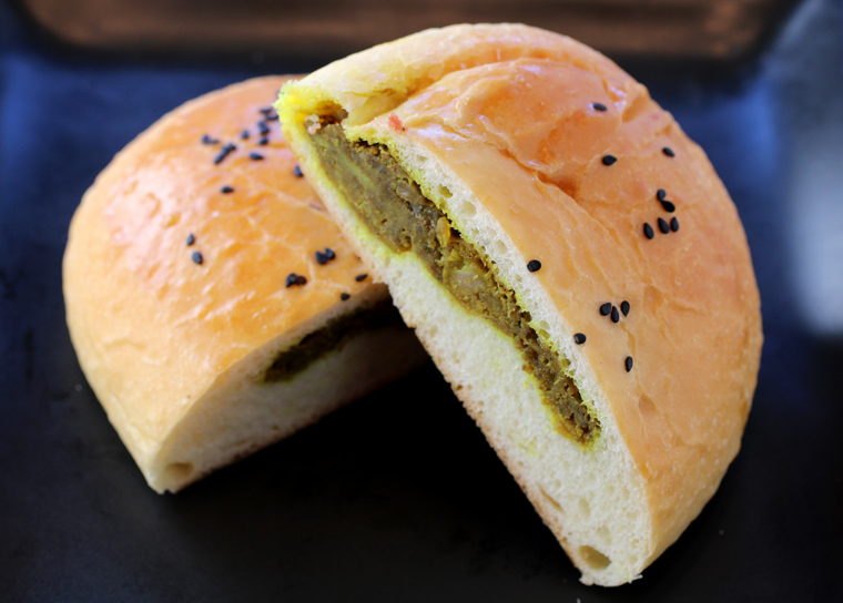 The curry beef buns come baked, as shown, or fried.