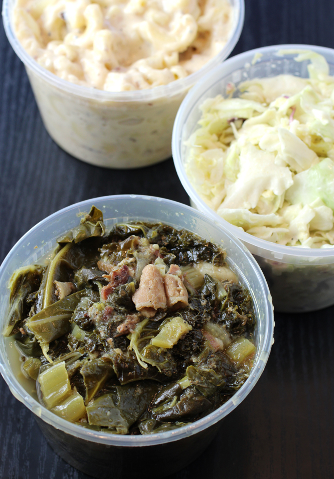 From top: mac and cheese, coleslaw, and greens with pork.