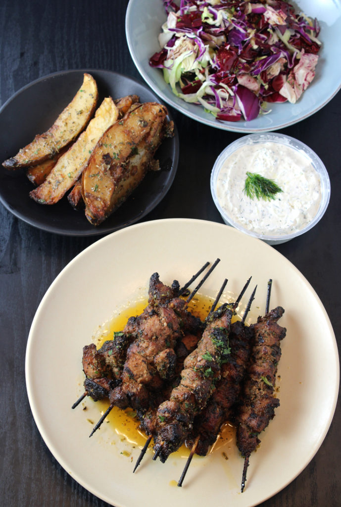 Part of the makings of the pork souvlaki family meal from Taverna in Palo Alto.