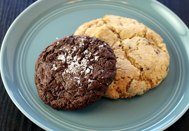 Dark chocolate sea salt cookie and chocolate chip cookie.
