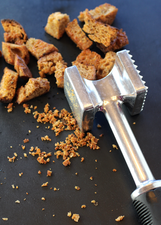 This recipe lets you blow off some steam by smashing croutons to smithereens.
