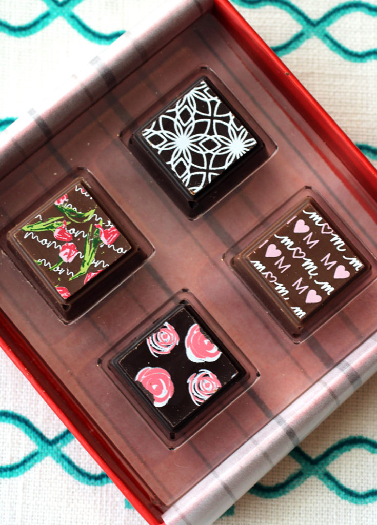 A truffle box that's part of the special Mother's Day virtual chocolate tasting from Delysia Chocolatier.