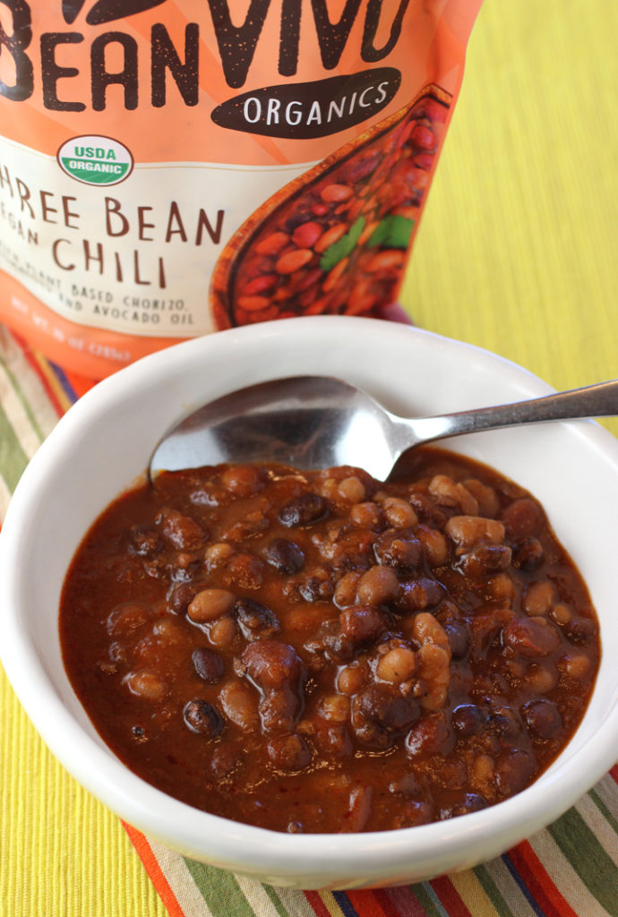 Hearty and substantial Three Bean Vegan Chili from BeanVivo.