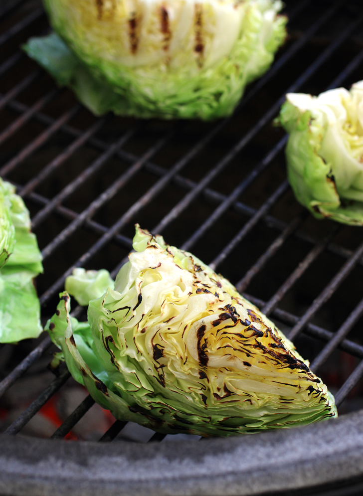 Char the cabbage on all sides on the grill.