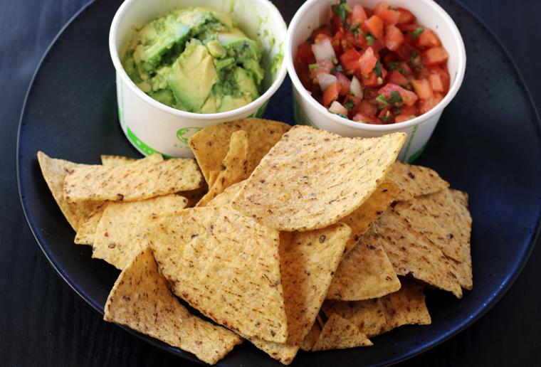 Avocado dip, salsa fresca, and chips.