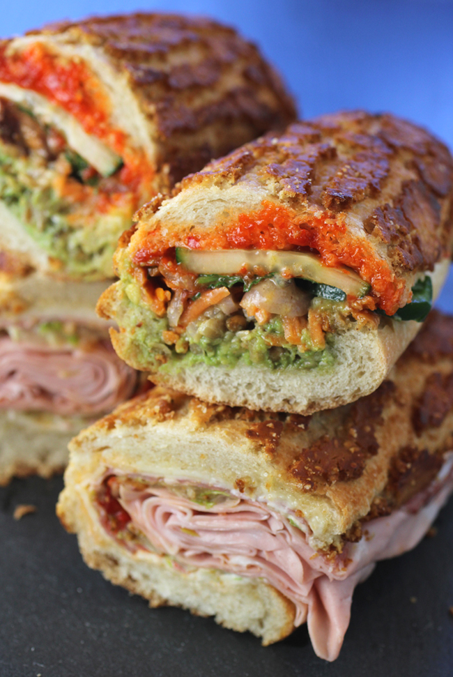 """A California and vegan take on a banh mi (top) and the """"Fanucchi'' (bottom)."""