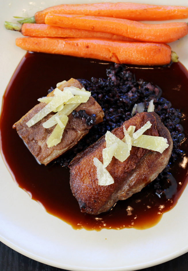 Duck breast and thigh in a fortified jus.