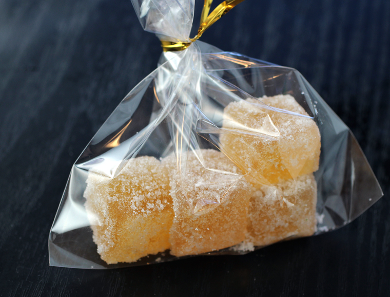 Sweet, lively, and chewy pate de fruit.