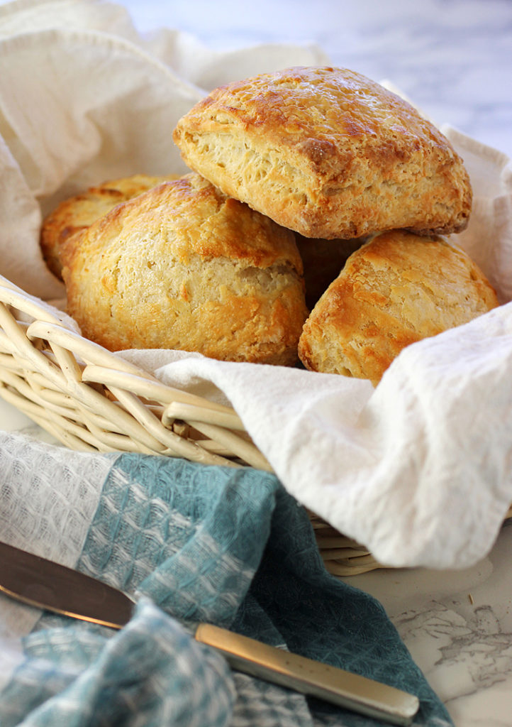 Crunchy on the tops and bottoms, and flaky and fluffy-soft inside.