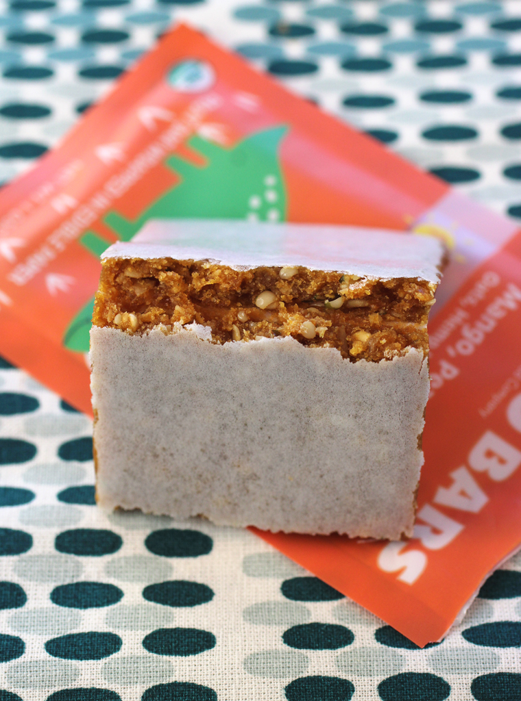 Dino Bar's mango, pear, and banana snack bar that's coated with edible paper for neatness.