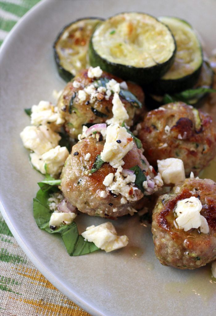 Zucchini stars in this meatball dish two ways.