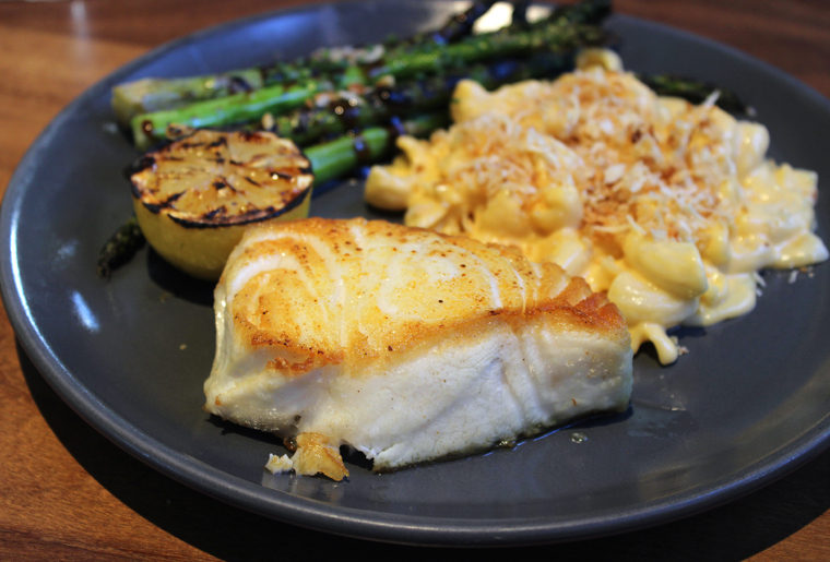 Wild Chilean Sea Bass cooked on the grill.