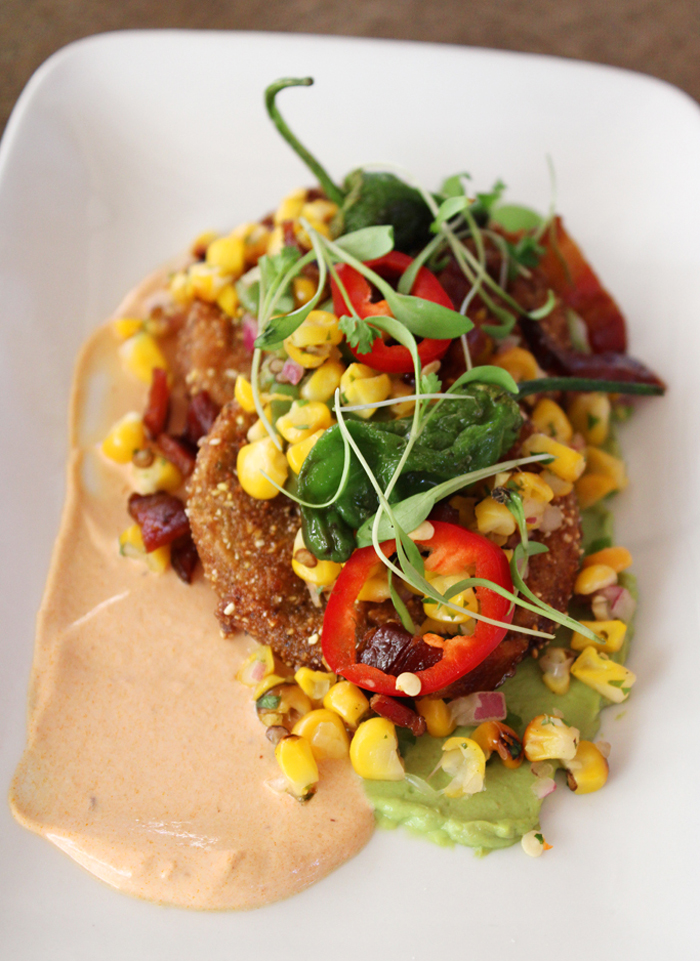 Fried green tomatoes with grilled corn, Padrons, and Fresno chilies.