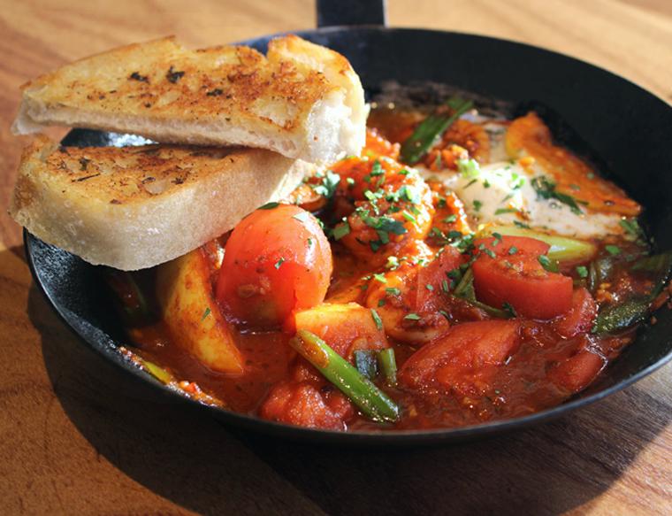 Spicy, tomato-y Creole shrimp.