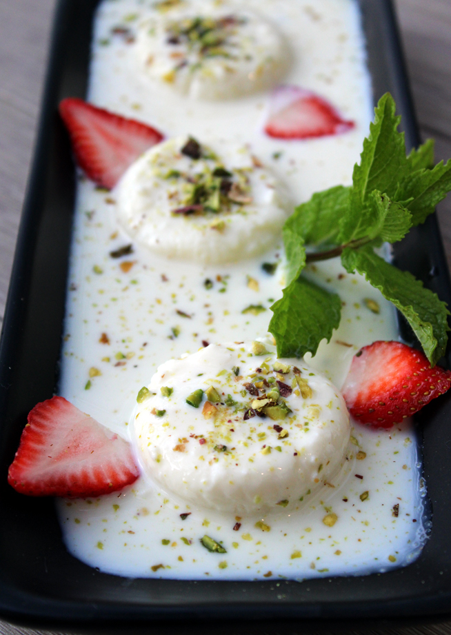 Rasmalai, a soft cheese dessert.