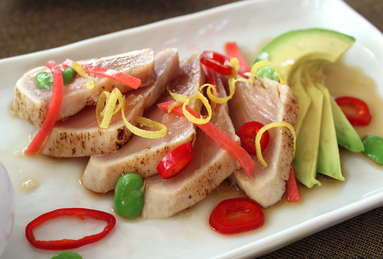 Albacore tataki that's lightly seared on the edges and raw within.