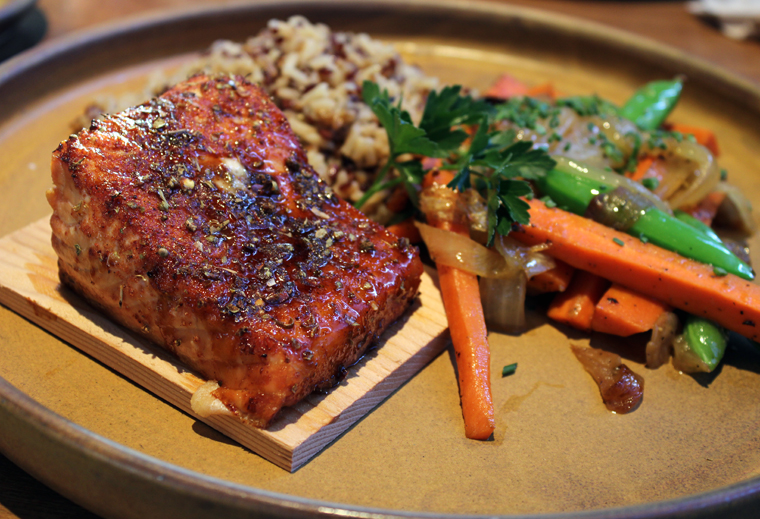 Delicious cedar-planked wild salmon.