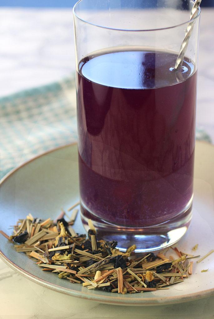 Adagio's Bella Luna Blue does indeed start out blue, but turns violet when you stir in lemon juice or other acid.