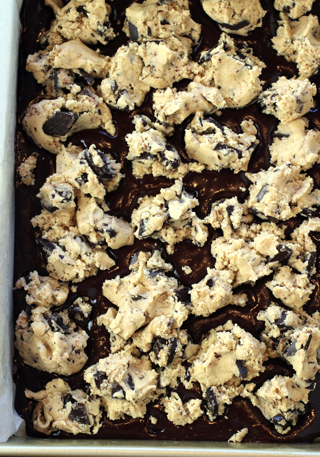 The brownie batter gets topped with crumbles of cookie dough.