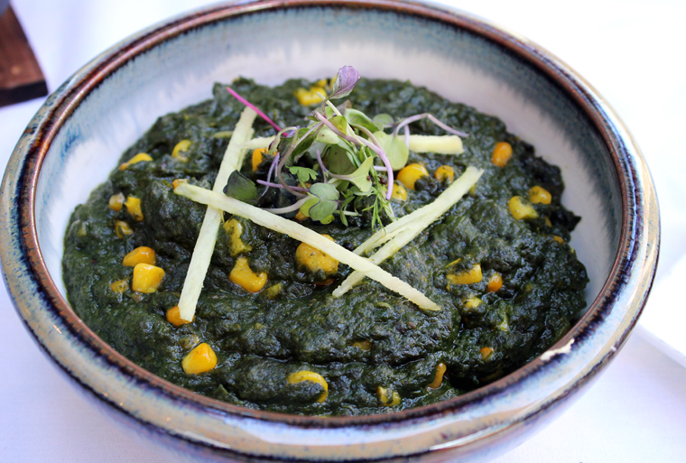 Spinach and corn.