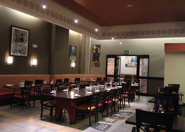 The indoor dining room with a private room available in the back.