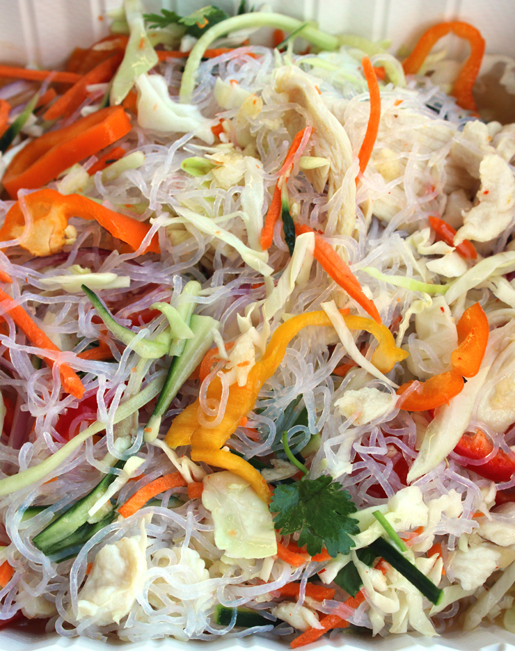 The glass noodle salad with chicken breast.