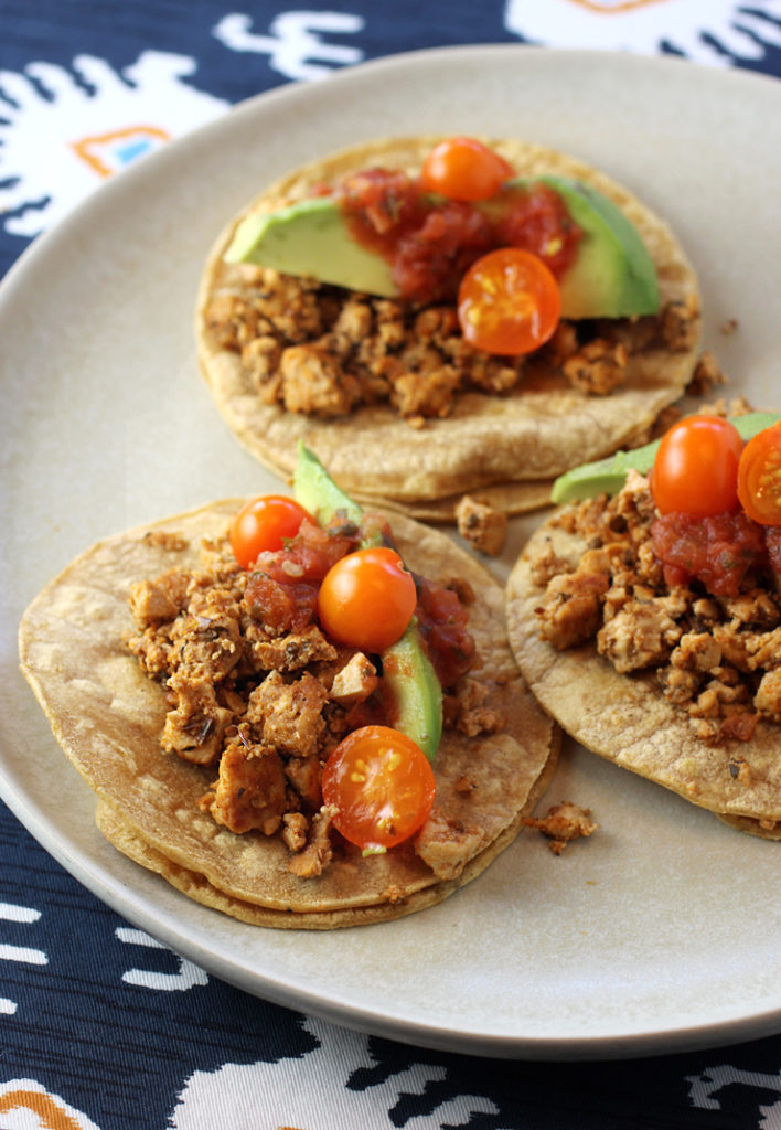 Tacos made not with meat -- but Hodo Adobo Mexican Crumbles.