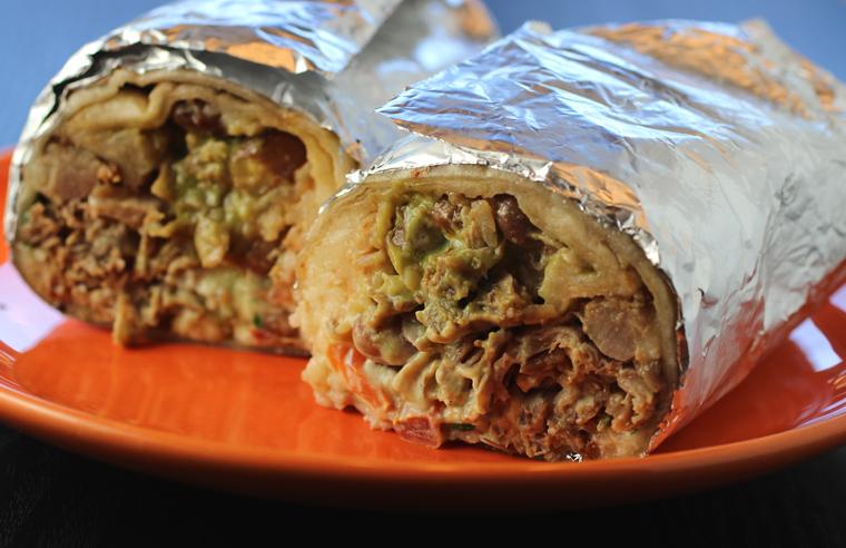 The carnitas super burrito.
