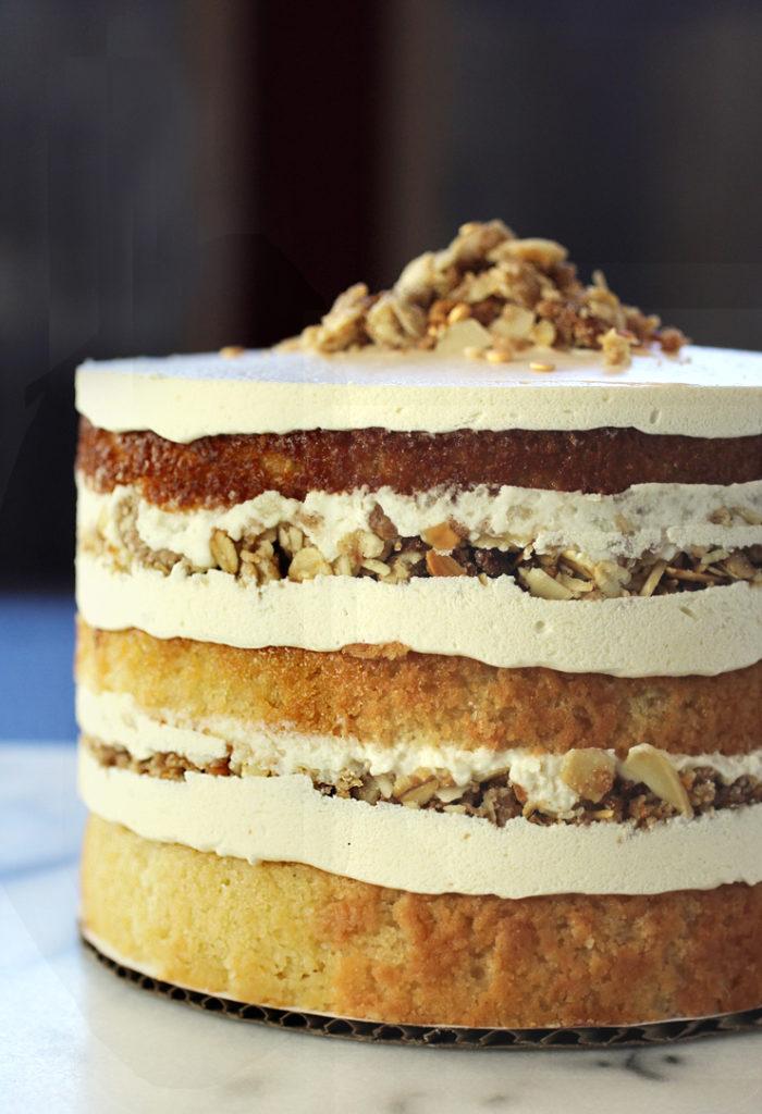 Butter & Crumble's lavishly layered Cinnamon Brown Sugar Almond cake.