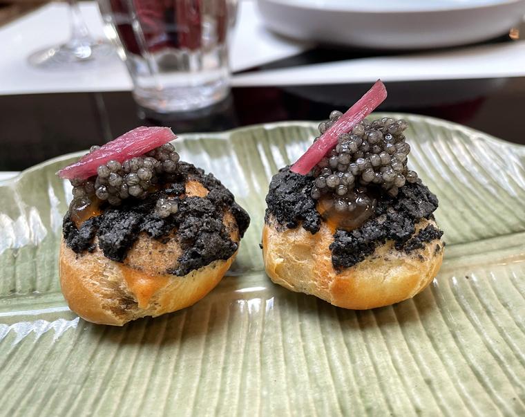 Caviar profiteroles.