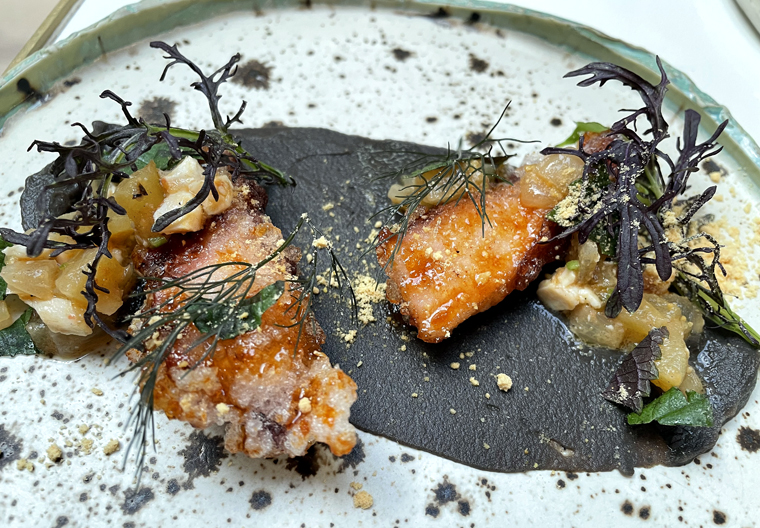 Crispy-chewy fried octopus with eggplant puree.